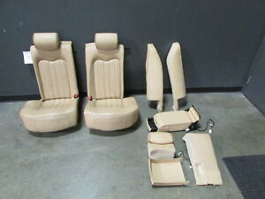 Maserati Quattroporte Complete Rear Seat Assembly Beige W Brown Piping Used