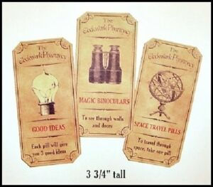 Set Of 12 Vintage Look Steampunk Apothecary Labels Halloween Primitive
