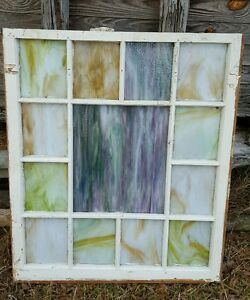 Vintage Sash Antique Wood Window Frame Church Rustic Stained Glass 39x24 Unique