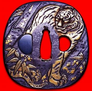 Superb Certificated Katana Tsuba Japanese Edo Antique Sword Fitting Tiger C824