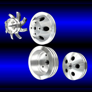 Billet Aluminum Small Block Chevy 4 Pulley Set Long Wp With Alt Ac And Ps