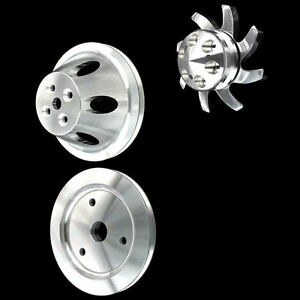 Billet Aluminum 1 Groove 3 Pulley Set For Chevy Short Water Pump 396 427 454 Bbc