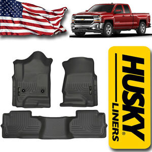 Floor Liners 2014 2018 Chevy Silverado Double Cab Truck Husky Mats Black New