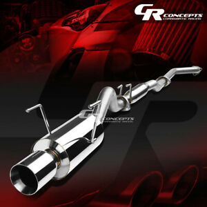 4 Rolled Muffler Tip Catback Exhaust Silencer System For 02 06 Acura Rsx Non S