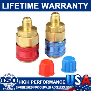 X2 R134a Auto Quick Couplers Brass Adapters Low High Side Ac Manifold Automotive