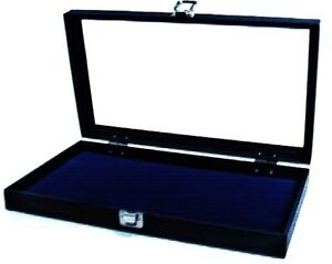 2 Glass Top Lid Blue Pad Display Box Cases Militaria Medals Pins Jewelry Knife