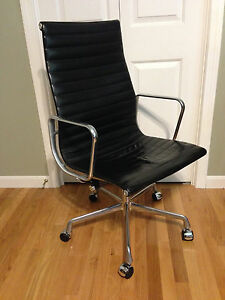 Eames Aluminum Group Executive Chair For Herman Miller In Leather