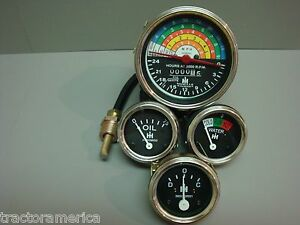 International Ih Farmall 340 Gas Tachometer Oil Temp Amp Gauge Set