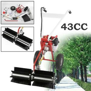 52cc Gas Power Broom Walk Behind Dirt Snow Sweeper Hand Held Cleaning Driveway