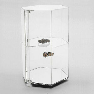 Acrylic Countertop Revolving Showcase Hexagonal W One Shelf 8 1 4 X 12 7 8 h