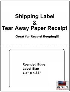 200 Click n ship Labels With Tear Off Receipt One Label Usa Made