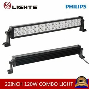 22inch 120w Led Spot Flood Light Bar Driving Atv Ute Truck 4wd Offroad Parts