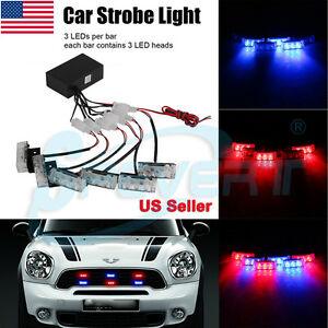 18 Led Car Truck Dash Strobe Flash Light Emergency Police Warning Lamp Red Blue