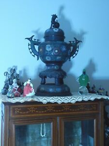 Antique Chinese Bronze And Champleve Incense Burner Cloisonn Foo Dog 25 Tall