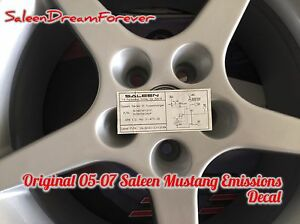 Rare 2005 07 Saleen S281sc Mustang Emissions Sticker Decal Ford Gt Supercharger
