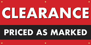 Clearance Priced As Marked Vinyl Display Banner With Grommets 3 hx6 w