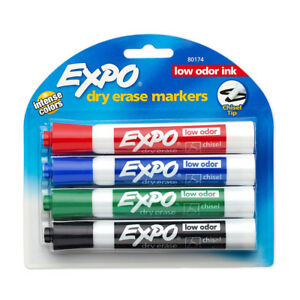 New 4 Expo Dry Erase Markers Intense Colors Low Odor Ink Chisel Tip 12 Pack