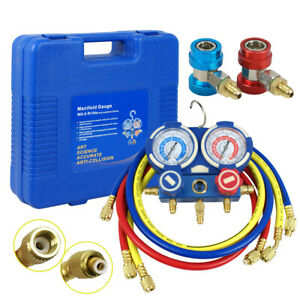 A c Manifold Gauge Set R134a Hvac 5 Ft Colored Hose Air Conditioner 1 4 Sae