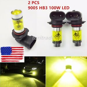 2 Pcs 9005 Hb3 100w Led 4300k Yellow Projector Fog Driving Light Bulbs Us