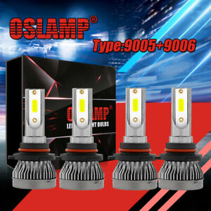 9005 9006 4pcs Led Total 240w 24000lm Combo Headlight High 6000k White Kit Bulbs