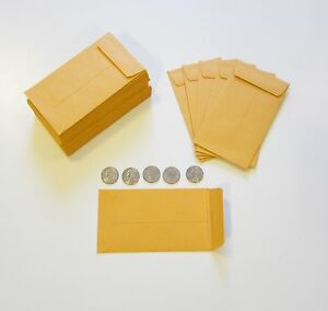 500 New Kraft Coin Change Envelopes 6 Size 3 375 X 6 Seed Jewelry Parts Stamp