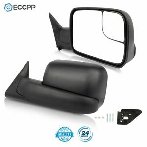 Pair For 1994 2001 Dodge Ram 1500 94 02 2500 3500 Tow Flip Up Manual Mirrors