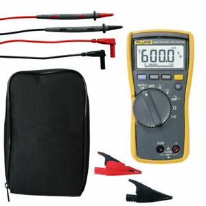 Fluke 114 True rms Digital Multimeter Kit90 With Ac285 Crocodile Clips And Case