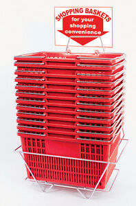 12 Standard Shopping Baskets Chrome Handles Metal Stand And Sign Red