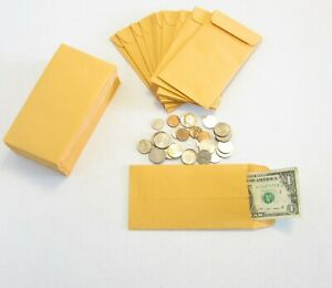 500 New Kraft Coin Change Envelopes 7 Size 3 5 X 6 5 Jewelry Parts Stamps