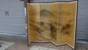 Antique Japanese Painted 6 Panel Screen Of Landscape Scene On Gold Silk Signed