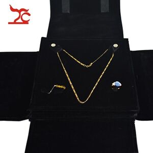 Portable Jewelry Storage Case Travel Case Roll Bag Necklace Ring Black Velvet