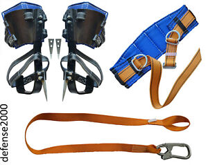 Tree Climbing Spike Set With Adjustable Pads Safety Belt Lanyard