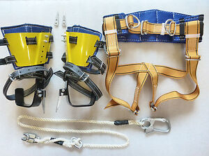 Tree Climbing Spike Set With Adjustable Gaffs Safety Belt Lanyard