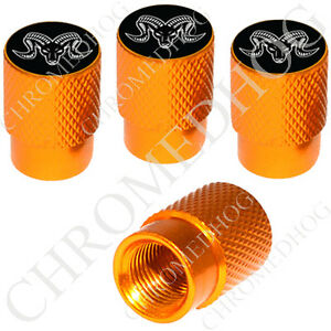 4 Gold Billet Aluminum Knurled Tire Air Valve Stem Caps Zodiac Aries Ram Wb