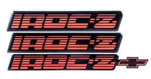82 92 Camaro Iroc z Red Rocker Panel Rear Bumper Emblem Set Of 3 Htirocembred