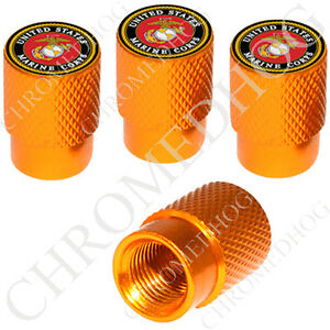 4 Gold Billet Aluminum Knurled Tire Air Valve Stem Caps Usmc Marines Logo