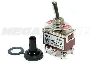 Toggle Switch Heavy Duty 20a 125v Dpdt On on W waterproof Boot Usa Seller