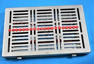 1 German Dental Autoclave Sterilization Cassette Rack Tray For 20 Instrument Red