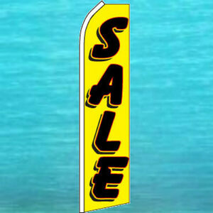 Sale Flutter Flag Yellow Tall Curved Top Advertising Sign Feather Swooper Banner