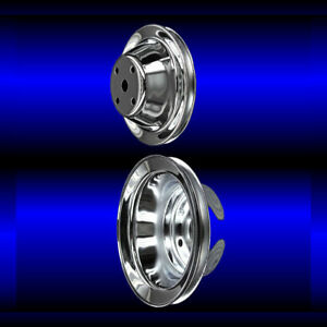 Chrome Small Block Chevy Pulley Set 2 Pulleys Long Pump Sbc Single Belt
