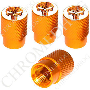 4 Gold Billet Aluminum Knurled Tire Air Valve Stem Caps Fire Punisher Skull W