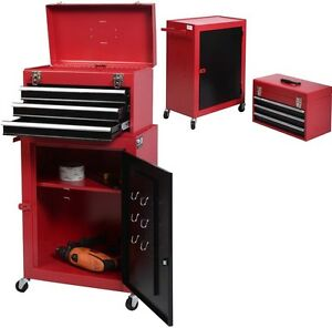 2pc Mini Tool Chest And Cabinet Storage Box Rolling Garage Toolbox Organizer New