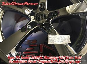 Rare 06 Saleen S281sc Mustang Drive Belt Installation Supercharger Decal Ford