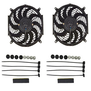 Dual 12 Inch Electric Automotive Radiator Cooling 12v Fan Slim Curved Blade