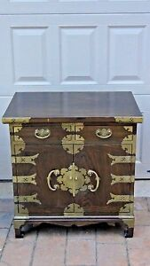 Antique Korean Carved 2 Drawers Chest Cabinet With Brass Etched Decoration 1