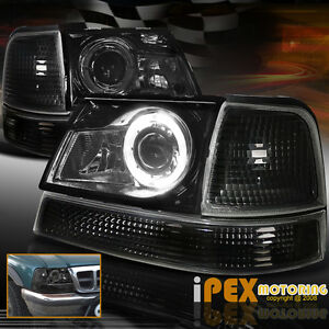 1998 00 Ford Ranger Led Halo Projector Black Smoked Headlights W Signal Lights