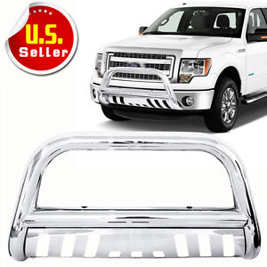 3 Stainless Steel Chrome Bull Bar Grille Push Guard For 2004 2019 Ford F150