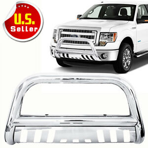 3 Stainless Steel Chrome Bull Bar Grille Push Guard For 2004 2020 Ford F150
