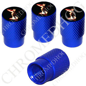 4 D Blue Billet Aluminum Knurled Tire Air Valve Stem Caps Pin Up Tattoo