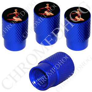4 D Blue Billet Aluminum Knurled Tire Air Valve Stem Caps Pin Up Dancer